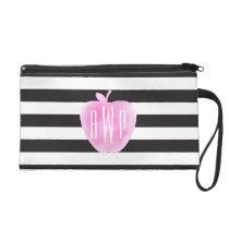 Monogrammed Pink Watercolor Apple   Stripes Wristlet Purse