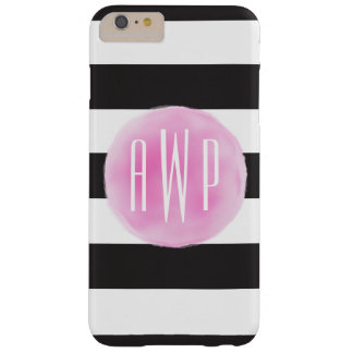Monogrammed Pink Watercolor Black + White Stripes Barely There iPhone 6 Plus Case