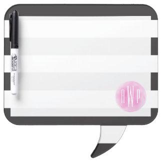 Monogrammed Pink Watercolor Black + White Stripes Dry Erase Board