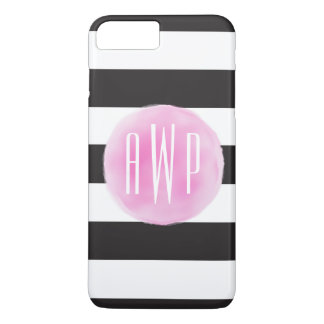 Monogrammed Pink Watercolor Black + White Stripes iPhone 7 Plus Case