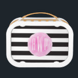"""Monogrammed Pink Watercolor Black   White Stripes Lunch Box<br><div class=""""desc"""">A gift featuring a black and white striped background pattern.  Personalize with your monogram on watercolor inspired pink circle.</div>"""
