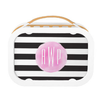 Monogrammed Pink Watercolor Black + White Stripes Lunch Box