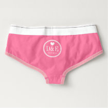 Monogrammed pink wedding boyshort briefs for bride