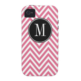Monogrammed Pink  White Chevron Zig Zag Pattern Case-Mate iPhone 4 Cover