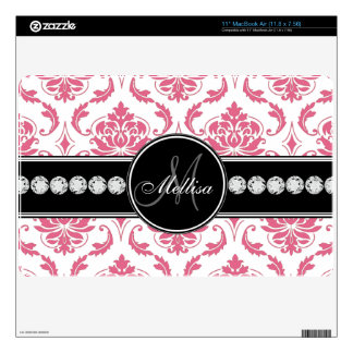 Monogrammed Pink White Damask Decals For MacBook
