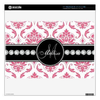 Monogrammed Pink White Damask MacBook Decal