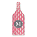 Monogrammed Pink White Floral Lattice Pattern Cutting Board