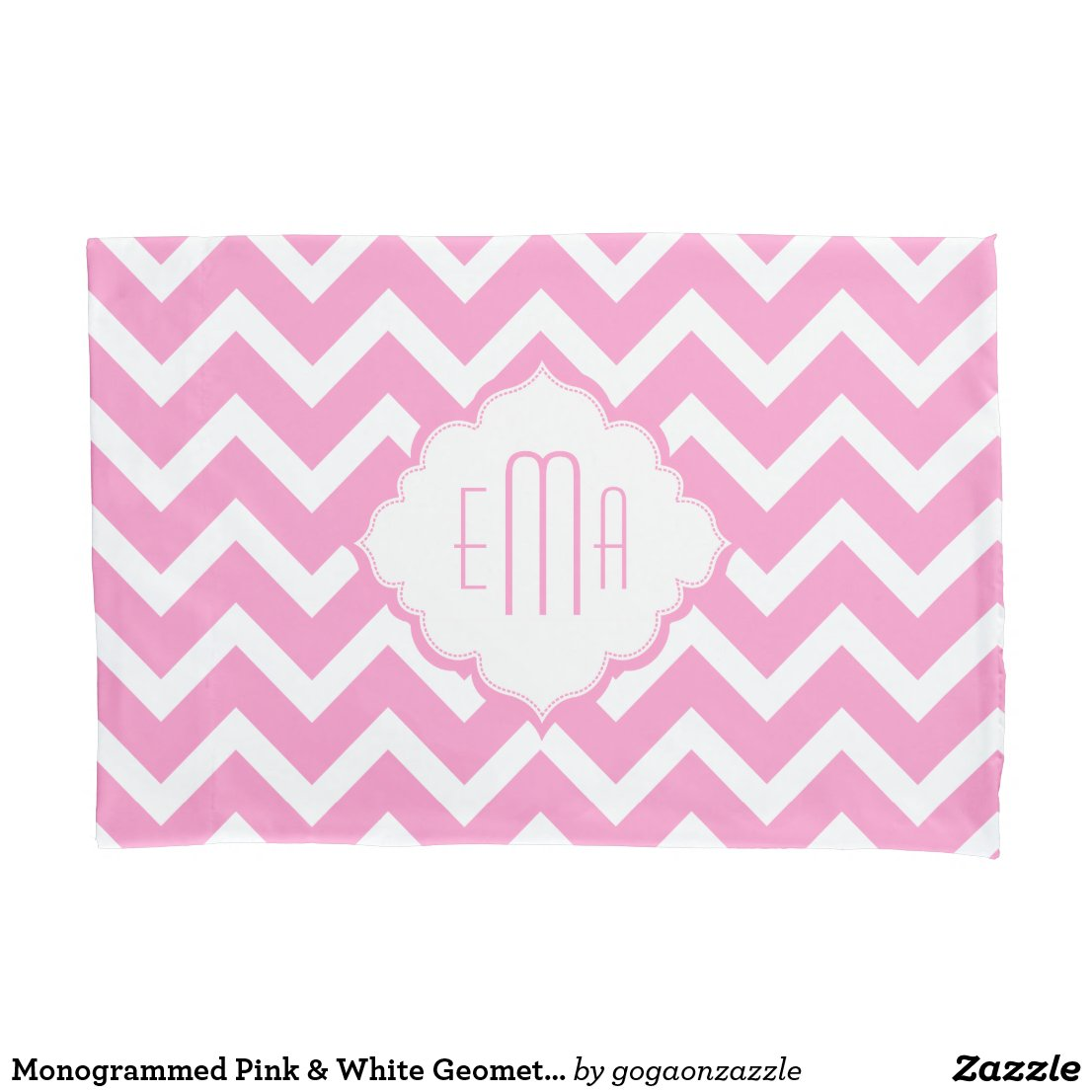 Monogrammed Pink & White Geometric Zigzag Chevron Pillowcase
