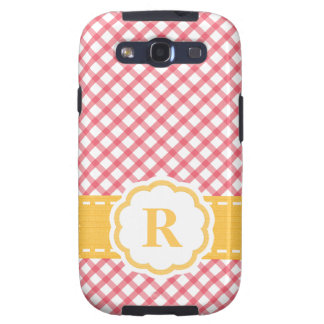 Monogrammed Pink Yellow Gingham Galaxy SIII Case