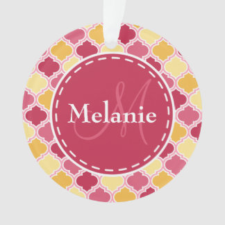 Monogrammed Pink Yellow Quatrefoil Ornament