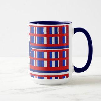 Monogrammed Plaid Patriot Red White & Blue Mug