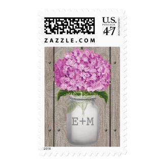 Monogrammed Plum Hydrangea Mason Jar Wedding Postage