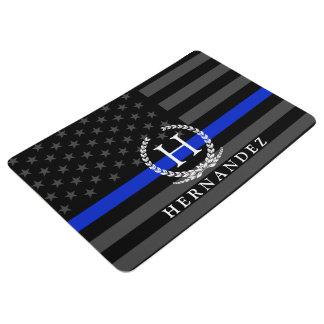 Monogrammed Police Styled American Flag Floor Mat