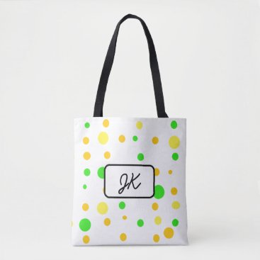 Beach Themed Monogrammed Polka Dot and Striped Green Yellow Bag