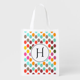 Monogrammed polka dot pattern in red blue white grocery bag