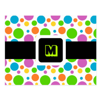 Monogrammed Polka Dot Pattern Postcard