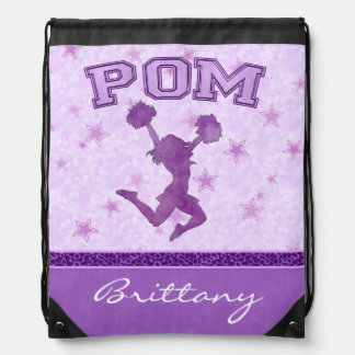 Monogrammed Pom Purple Cheetah Print Stripe Backpack