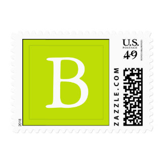 Monogrammed Postage Stamp - Lime Green