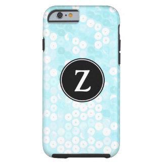 Monogrammed Powder Blue Sequin Glitter Tough iPhone 6 Case