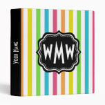Monogrammed Pretty Chic Stripes Pattern Vinyl Binder