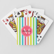 Monogrammed Pretty Chic Stripes Pattern Playing Cards