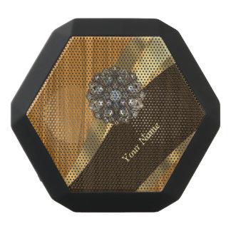 Monogrammed pretty faux pine wood black bluetooth speaker