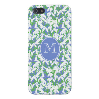 Monogrammed Pretty Snowdrop Pattern on Soft Blue Cover For iPhone SE/5/5s