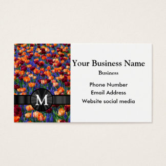 Monogrammed pretty tulip floral flower business card