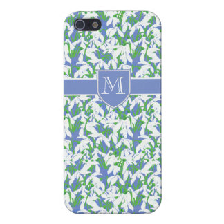 Monogrammed Pretty White Snowdrop Pattern on Blue Cover For iPhone SE/5/5s
