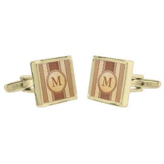 Monogrammed PRINTED faux wood Gold Cufflinks