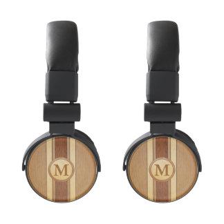 Monogrammed PRINTED faux wood Headphones