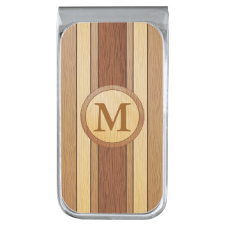 Monogrammed PRINTED faux wood Silver Finish Money Clip