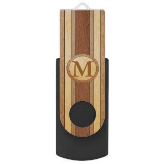 Monogrammed PRINTED faux wood USB Flash Drive
