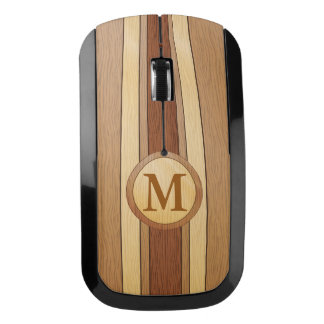 Monogrammed PRINTED faux wood Wireless Mouse