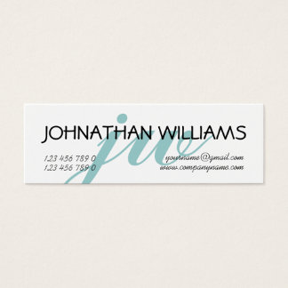 Monogrammed professional blue powder mini business card