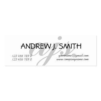 Monogrammed professional grey PERSONALIZE Mini Business Card