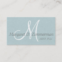 Monogrammed Professional, Light Blue Linen Business Card