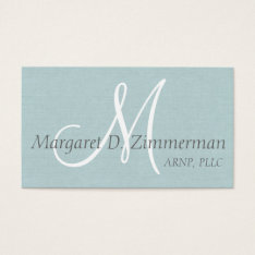 Monogrammed Professional, Light Blue Linen Business Card at Zazzle