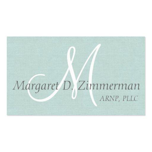 Monogrammed Professional Paste Blue Linen Business Card