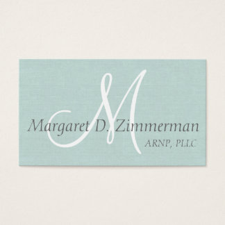 Monogrammed Professional, Paste Blue Linen Business Card