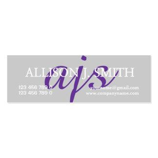 Monogrammed professional purple gray PERSONALIZE Mini Business Card