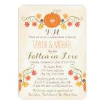 Monogrammed Pumpkin Fall Couples Wedding Shower Card