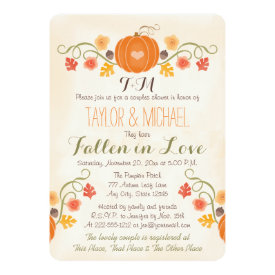 Monogrammed Pumpkin Fall Couples Wedding Shower Card