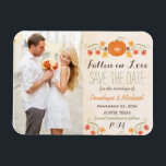 "Monogrammed Pumpkin Fall Wedding Save the Date Magnet<br><div class=""desc"">Add your favorite engagement photo and picture to these fall themed Fallen in Love wedding save the date magnets with a pumpkin, vine, autumn leaf, peony rose floral and acorn design on an antique look parchment background. A heart is carved into the center of the pumpkin. The initials or monogram...</div>"
