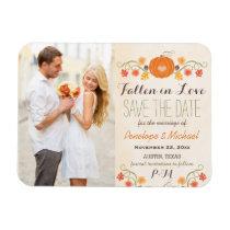 Monogrammed Pumpkin Fall Wedding Save the Date Magnet
