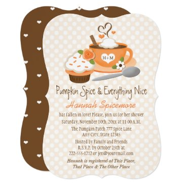 Coffee Themed Monogrammed Pumpkin Spice Fall Bridal Shower Card
