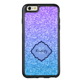 Monogrammed Purple And Blue Glitter OtterBox iPhone 6/6s Plus Case