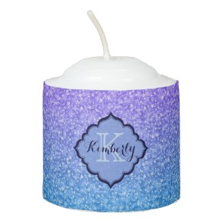 Monogrammed Purple And Blue Glitter Pattern