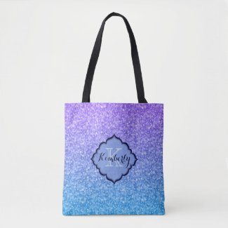 Monogrammed Purple And Blue Gradient Glitter