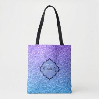 Monogrammed Purple And Blue Gradient Glitter